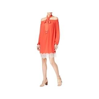 MICHAEL Michael Kors Womens Petites Cocktail Dress Lace Trim Off the Shoulder