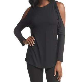 Tart NEW Black Womens Size Small S Cold-Shoulder Stretch-Knit Top