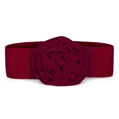 Elastic Nylon Flower Buckle Waist Belt for Ladies Wedding Belts - Red - M