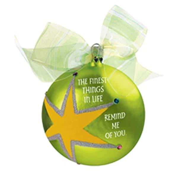 Carlton Heirloom Special Beautiful Glass Ball Star Christmas Ornament #CXOR-036R