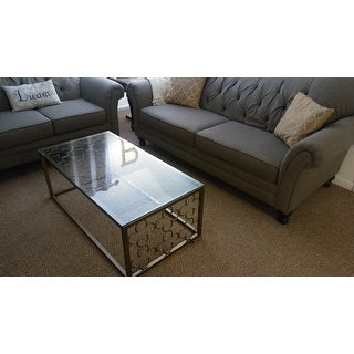 quatrefoil goldtone metal and glass coffee table - free shipping