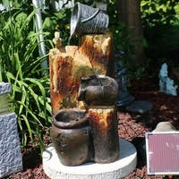 Sunnydaze Cascading Log & Buckets Solar on Demand Water Fountain 30 Inch Tall