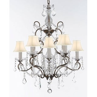 Swarovski Tcrystal Trimmed Wrought Iron Chandelier With White Shades