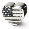 Sterling Silver Reflections Heart Flag Bead (4mm Diameter Hole) - Thumbnail 0