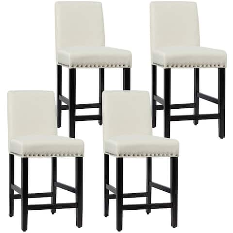 Gymax 4PCS Upholstered Counter Stools Bar Stool Home Kitchen w/ Wooden - See Details