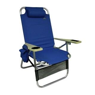 Big Papa 4 Position Aluminum Folding Beach Chair w/Pillow & Cup Holder