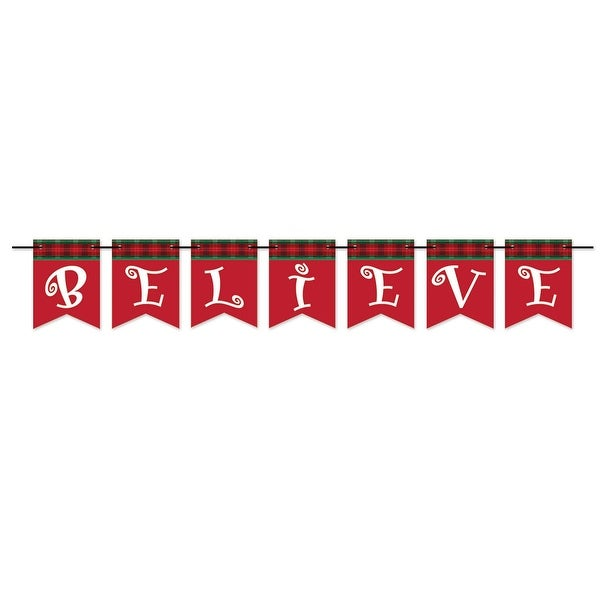 """Pack of 12 Red and White Believe Pennant Banner Christmas Decorations 6' x 6"""""""