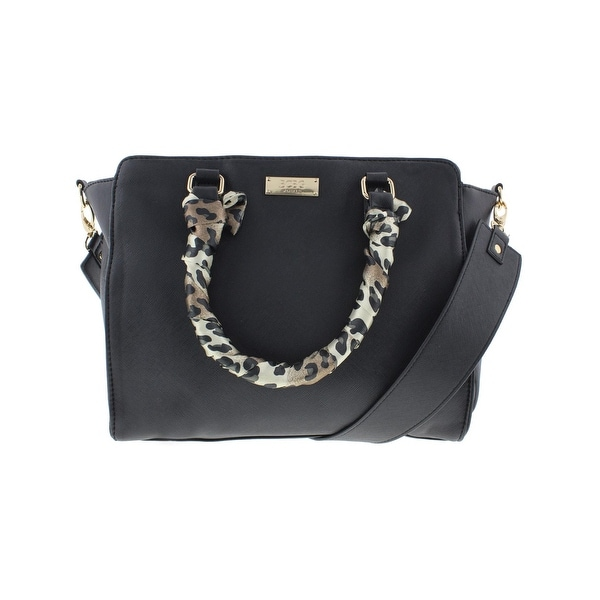 BCBG Paris Womens Satchel Handbag Faux Leather Animal Print