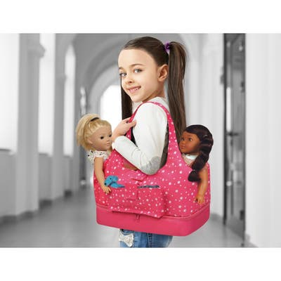 """Badger Basket On-the-Go Doll Tote and Storage Bag - Pink Stars - 17"""" x 7"""" x 16.5"""""""