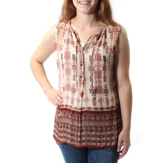 LUCKY BRAND $99 Womens New 1391 Beige Tie Sleeveless V Neck Hi-Lo Top M B+B