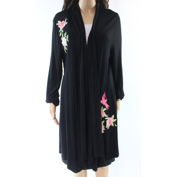02c9a890ad38 Shop INC NEW Black Women s Size Medium M Cardigan Floral Embroidered ...