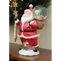 "11"" Santa Claus with Toy Sack Glitterdome Snow Globe Christmas Table Top Figure"
