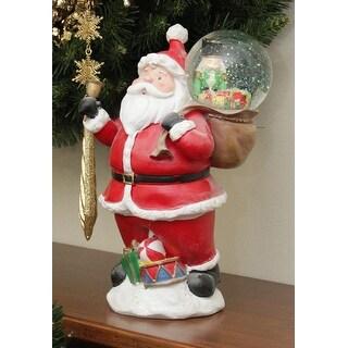 "11"" Santa Claus with Toy Sack Glitterdome Snow Globe Christmas Table Top Figure"