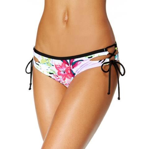 Bar III Tropical Lace Up Hipster Bikini Bottom Small S Multi Womens Swimsuit