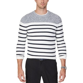 Nautica Mens Pullover Sweater Ribbed Knit Striped