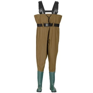 Costway Waterproof Chest Waders Nylon PVC Cleated Bootfoot Fishing & Hunting Brown - Green