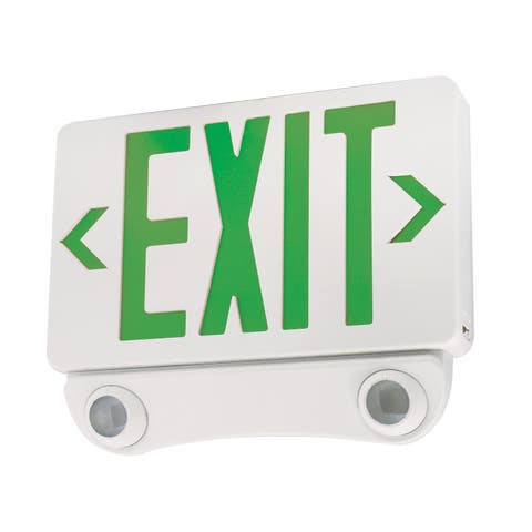 "Elco EE86H 12"" Wide LED Exit Sign with Emergency Light Combo - - White / Green"
