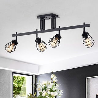 Link to Zefina Matte Black 4-light Track Light Similar Items in Track Lighting