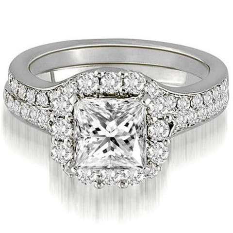 1.17 CT Halo Princess & Round Cut Diamond Matching Bridal Set in 14KT - White H-I