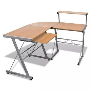 Link to vidaXL Computer Desk Workstation With Pull Out Keyboard Tray Brown Similar Items in Desks & Computer Tables