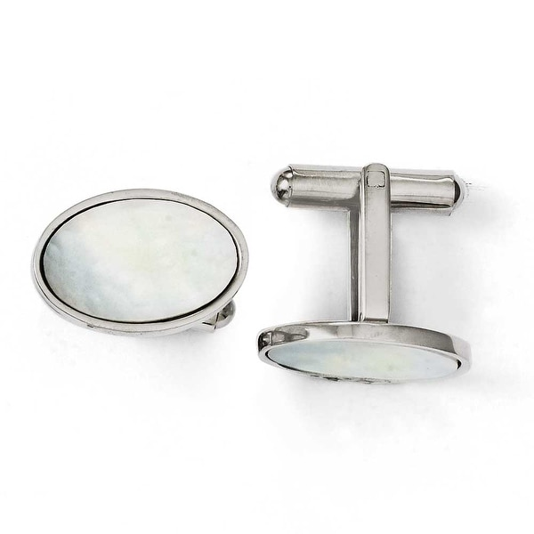 Chisel Stainless Steel Mother of Pearl Polished Cuff Links