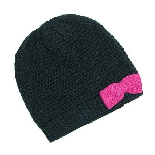 Grand Sierra Girls' 7-16 Knit Beanie Hat with Bow - One size