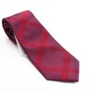 Kenneth Cole Reaction Red Landscape Grid Men's Silk Woven Necktie