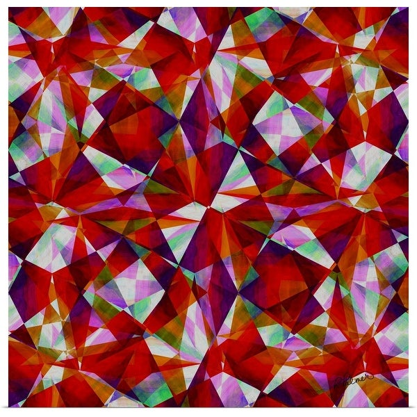 """""""Clouded Crystals Red Square"""" Poster Print"""