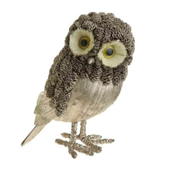 "8.5"" Modern Lodge Glittered Gold Pine Cone Owl Christmas Figure"