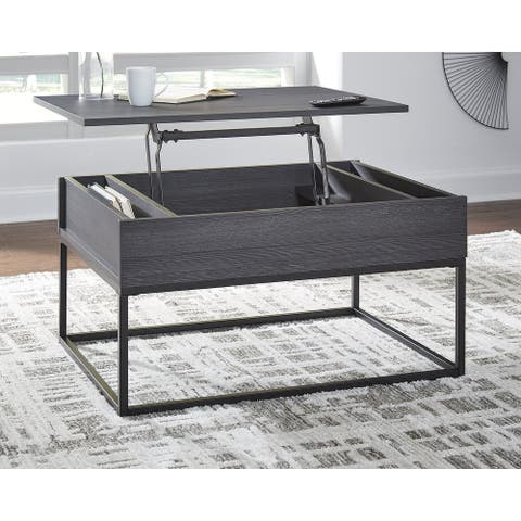 "Yarlow Contemporary Black Lift Top Cocktail Table - 36""W x 26""D x 19""H"