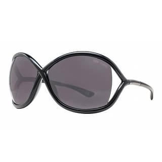 Tom Ford Whitney TF009 199 Black/Smoke Women's Oversized Soft Round Sunglasses - Shiny Black - 64mm-14mm-110mm