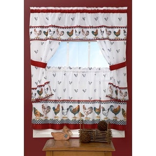Top Of The Morning Rooster Printed Kitchen Curtain - 57x36 &  57x36 Inches - N/A