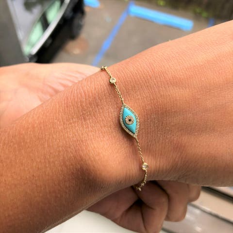 Evil Eye Bracelet Turquoise & Diamond 14k Yellow Gold by Joelle Collection