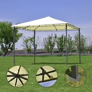 Costway Outdoor 10'x10' Square Gazebo Canopy Tent Shelter Awning Garden Patio beige