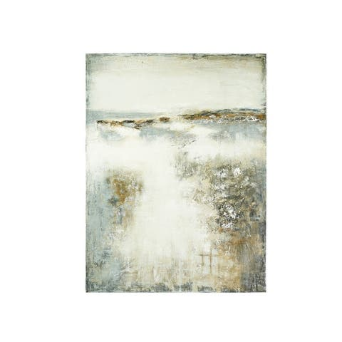"""47.25""""H Hand-Painted Abstract Canvas Wall Decor - Grey"""