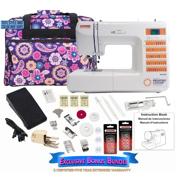 Janome Nat'nl Pediatric Cancer NPCF-50 Sewing Machine Bundle