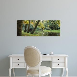 Easy Art Prints Panoramic Images's 'Trees near a pond in a park, Vondelpark, Amsterdam, Netherlands' Canvas Art