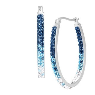 Crystaluxe Inside Out Oval Hoop Earrings with Blue Swarovski Crystals in Sterling Silver
