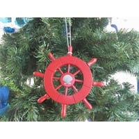 6 in. Red Decorative Ship Wheel with Seashell Christmas Tree