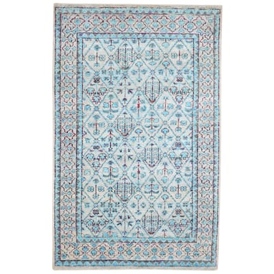 """One of a Kind Hand-Knotted Persian 5' x 8' Oriental Silk Blue Rug - 4'11""""x7'10"""""""