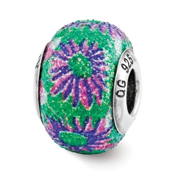 Italian Sterling Silver Reflections Pink & Green Floral Overlay Bead (4mm Diameter Hole)