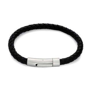 Bling Jewelry Mens Braided Black Leather Bracelet Stainless Steel