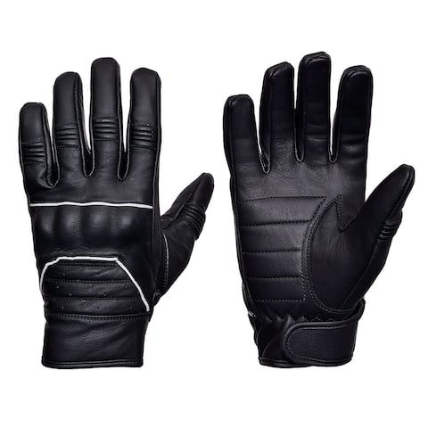 Full Grain Cowhide Motorcycle Biker Riding Gloves Black With Reflective Piping