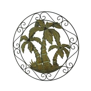 Antique Bronze Scroll Motif Tropical Palm Trees Wall Hanging