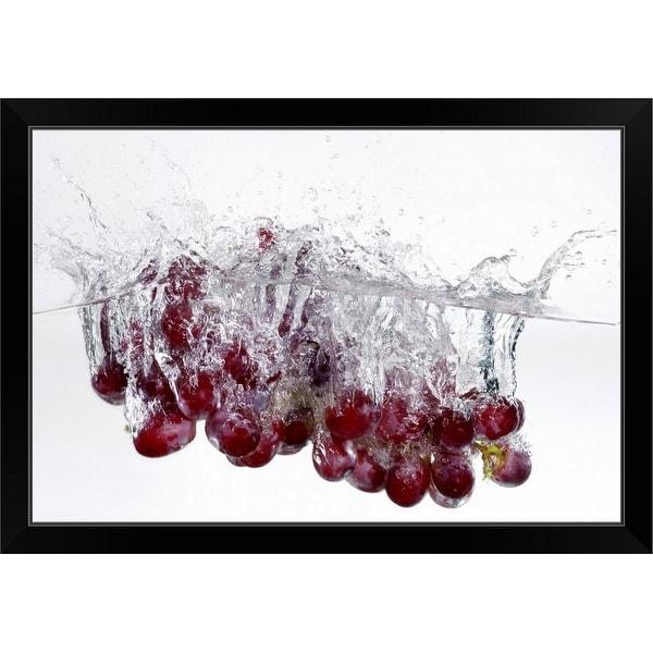 """Grapes in water"" Black Framed Print"