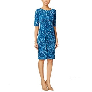 Connected Apparel NEW Blue Women's Size 12 Sheath Stretch Printed Dress