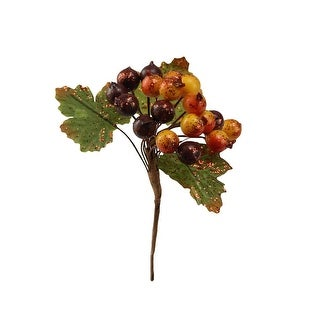 """4.5"""" Glittered Yellow, Orange and Burgundy Wild Berry with Leaves Christmas/Autumn Pick"""