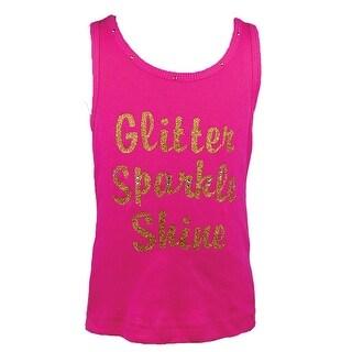 "Reflectionz Baby Girls Hot Pink Gold ""Glitter Sparkle Shine"" Tank Top 12-18M"