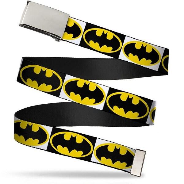 Blank Chrome Bo Buckle Batman Shield Blocks White Black Yellow Webbing Web Belt
