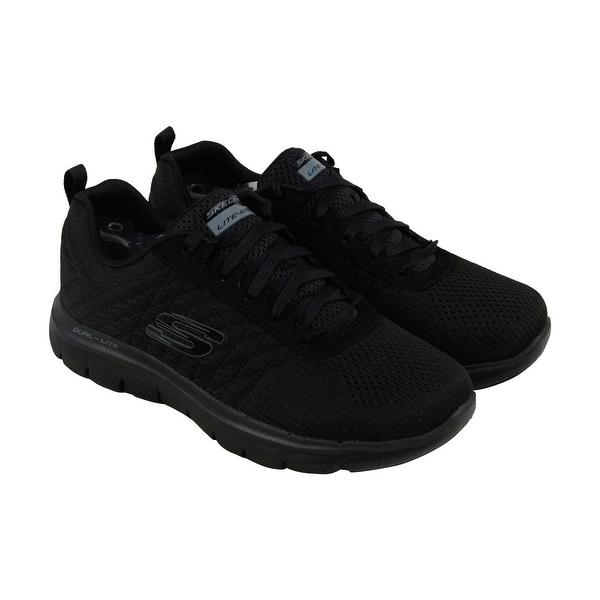 Skechers Flex Appeal 2.0 Break Free Womens Black Mesh Athletic Training Shoes